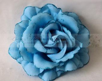 Glittered Bloom Blue Rose Flower Head DIY Headband Flower Craft Flower Rose Flower (3) Pc