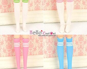 Blythe Pullip Knee Print Socks (Student / White Socks + Colorful Stripes)