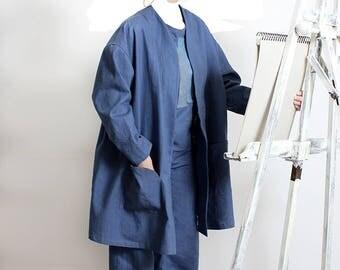 Linen blue jean jacket