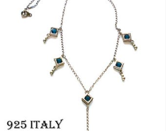 Italian Sterling Silver Y Necklace with Blue Stones