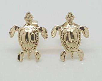 14k Yellow Gold Turtle Tortoise Tortuga Stud Earrings Women/Children Push Back