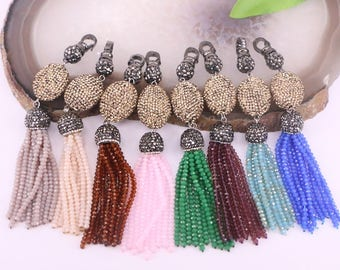 5Pcs Multi color crystal tassel pendants pave rhinestone charm jewelry pendants, necklace chain making accessories.