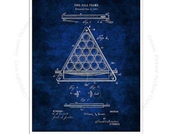 Billiards Poster art print #3 Billiard Ball Frame design invented in 1891 with dark blue background, Billiard gift for him, rec room decor