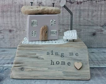 Music Teacher Gift, DRIFTWOOD HOUSE, Music Lover Gift, Wood House, Recycled Wood, Wooden Sculpture, Music Gift, Original Art, Wood Ornament