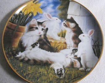 Beautiful collectible-Cats-Franklin Mint-Kitten and Cottontails-Craig Sprovach-Vintage CAT/cats collector plate