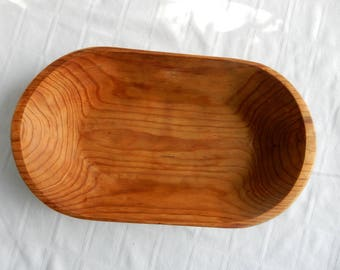 Vintage Hand Carved Wood Bread Bowl - Large Oval Bowl Carved from One Piece of Wood  - Vintage Dough Bowl - Hand Carved Wood Oval Tray