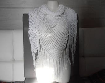 "shawl or scarf / white ""A.c."" all cotton."