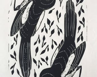 PRE-ORDER- A Pair of Magpies - original linocut - Black