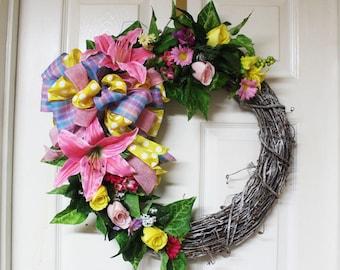 Spring Grapevine Wreath, Floral Grapevine Wreath, Easter Grapevine Wreath, Door Decor, Home Decor