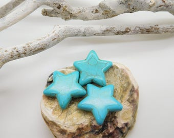 10 stone beads with synthetic turquoise 25mm star design creating ethnic jewelry / trendy jewelry
