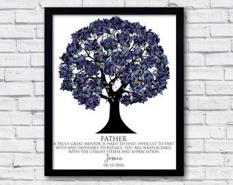 fathers birthday gift, Fathers day gift from daughter, from son, family tree, fathers day tree, fathers day art,  fathers day poster