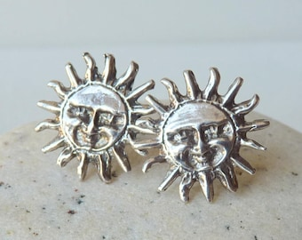 Vintage Sterling Silver Sun Earrings, Sun Face Pierced 925,Sterling Happy Sun Studs, Beach Sun Earrings, Vintage 925, Retro Sterling Sun