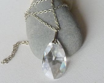 "Big Swarovski Crystal Teardrop Pendant and Silver Tone Chain Necklace Vintage  24"" Long  Clear Crystal  Drop Necklace, Swarovski Jewelry"