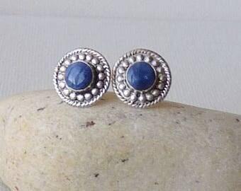 Vintage Sterling Silver Lapis-Lazuli Earrings, Small Pierced Lapis Lazuli Stud Blue 925 Earrings, Round Earrings, Lapis Lazuli Jewelry 925