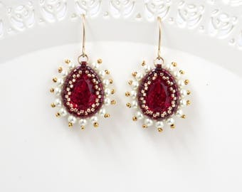 Swarovski Crystal Teardrop Victorian Red Dangle Earring, Mom gifts