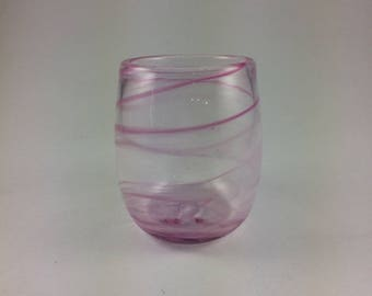 Hand Blown Pink Swirl Glass Tumbler