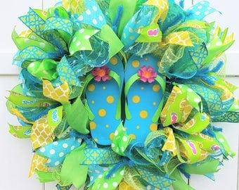 Flip Flop Wreath, Summer Wreath, Summer Deco Mesh Wreath, Flip Flops Wreath, Summer Mesh Wreath, Green Blue Yellow Mesh Wreath, Beach Wreath