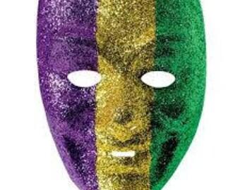 Two Mardi Gras Full Face Glitter Mask