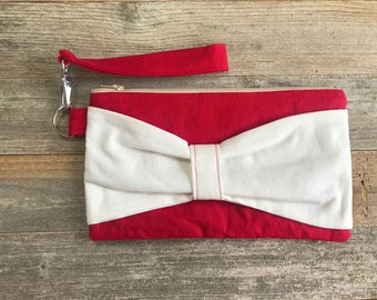 Bow Wristlet- Red and Cream Linen- Detachable Wrist Strap- Date Night- On The Go- Date Night