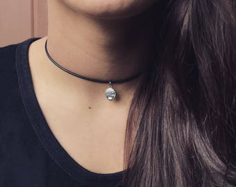 Suede Choker - Chokers - Leather Choker - Charm Necklace