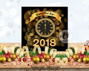 New Year, Printable Cards, Print Your Own New Year's Card, Card Topper, CU4CU