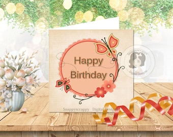 Printable Cards, Birthday, Card Fronts,   Birthday, Print Your Own, Card Toppers, CU4CU Instant Download