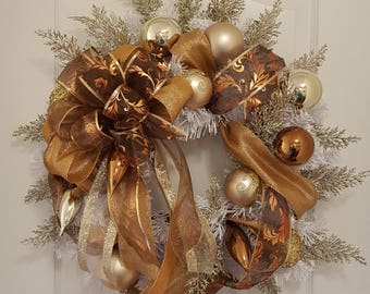 Copper and gold Christmas wreath