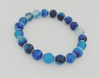 New for Summer, Blue Agate Gemstone with Silver, Beaded Bracelet, Handmade Bracelets, Chakra Bracelets, Handmade Jewelry, Blue Bracelets