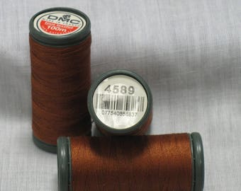 Set of 3 spools of 100 brown color for all textiles brand DMC
