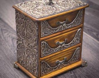 Chest of drawers/Jewelry box wood/Jewelry box drawer/Jewelry storage/Embossed box/Repujado/ Metal embossing/Jewelry organizer