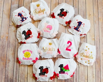 Personalized Baby BLOOMERS Diaper cover,Birthday Baby Bloomers,Cake Smash Bloomers,Baby First Birthday Sunshine ladybug bloomer diaper cover