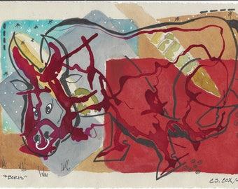 Boris the Bull - Original Ink and Watercolor on paper