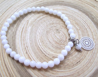 White jade bracelet stainless steel style 4 mm boho