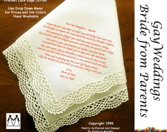 Gay Wedding Hankie Gift  Wedding Hankie For the Bride from Her Parents L603 Title, Sign & Date Free! Printed Wedding Hankie Bride Hankie