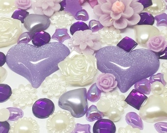 Rosey's Craft Shops 100 x Mixed Flatbacks Ivory Lilac Purple tones cardmaking craft embellishments