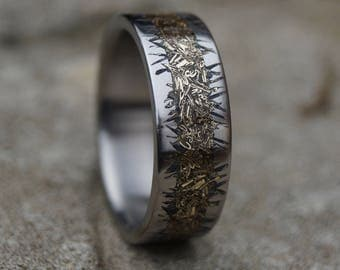 Titanium Ring With Copper Inlay