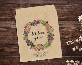 Wedding Seed Packet, Tulip, Wedding, Custom Seed Packets, Pink Flowers, Personalized Favor, Custom Seed Wedding Favor, Wedding Favor x 25