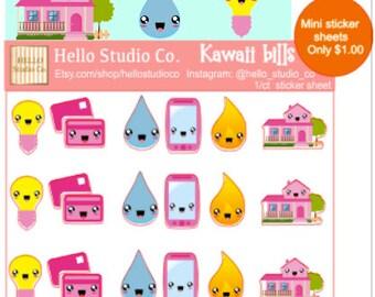 Kawaii bill planner stickers