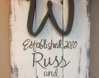 Reclaimed Wood Established Family Name Sign