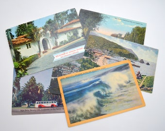 Lot of 6 Vintage Southern California Postcards, Nixon Home, Catalina Island, Beverly Hills, FREE SHIPPING, 1910s-1980s