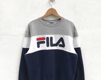 NEW YEAR SALE Vintage Fila Big Logo Sweatshirt/Fila Sweater/Casual Clothing/Fila Sport Sweater/Fila Italia/Fila Color Block