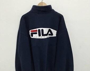 BIG SALE Vintage Fila Half Zipper Sweater Big Logo/Fila Sweatshirt/Casual Clothing/Fila Sport Sweater/Fila Italia