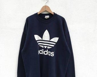 20% OFF Vintage Adidas Big Logo Sweatshirt,Adidas Jacket,Adidas Color Block,Adidas Trefoil Sweater,Hip Hop Swag Streetwear