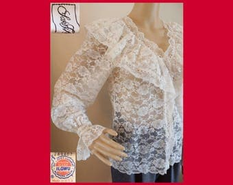 80s Lace POET SLEEVE Blouse~Sheer~Saks 5th Avenue~Alyce~Union Made Label USA~Victorian Shirt Top~hippie~boho~1970s~Sz M/Vintage 10~Minty
