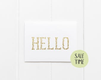 ON SALE : Set of 10 Gold Foil Flat Note 'Hello' Cards