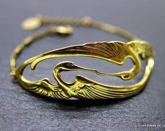 Bracelet art deco bird, bird bracelet