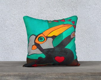 Toucan Toco Turquoise Art Print pillow cover - Pillow box and Collection Jp Mélanie Bernard
