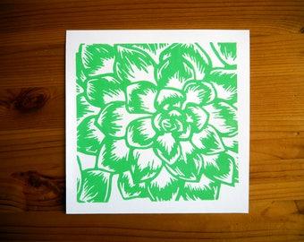 "Handmade Succulent Block Print 8"" x 8"""