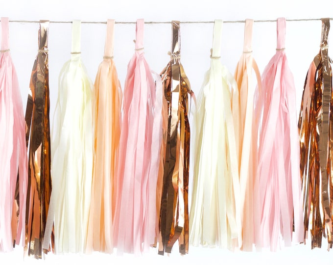 Blushing Peony Tassels, Tissue Tassels, Tassel Banner, Birthday Party Decor, DIY Tassels, Girl Birthday, Wedding, Baby Shower Blush Pink