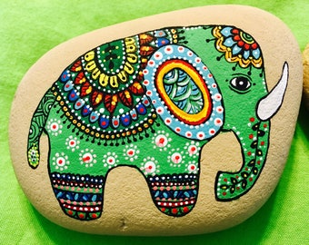 Elephant hand painted prosperity and good luck rock